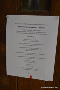Concert - Loreto Aramendi - Plymouth church - Brooklyn