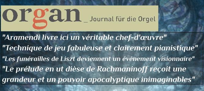 "Organ – Journal für die Orgel, critique du CD ""Transcriptions"""