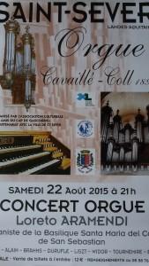 Afiiche du concert de Loreto Aramendi - Orgue Cavaillé-Coll de Saint-Sever
