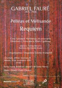 Cartel del concierto - Gabriel Fauré - 20 aniversario Coro Goratzar