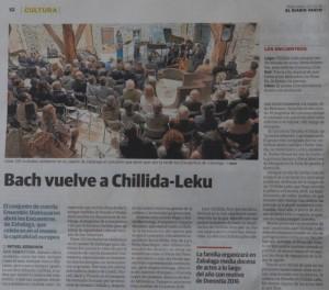 Recorte de prensa del concierto en Chillida Leku - ensemble Diatessaron