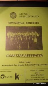 Programa Coro Goratzar / Loreto Aramendi - Concierto Ateneo