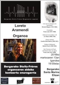 Cartel del concierto benéfico - órgano Stoltz - Bergara