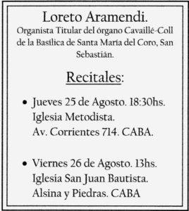 Cartel conciertos - Buenos Aires - Loreto Aramendi