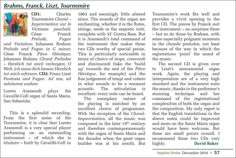 Organists Review of the CD - Loreto Aramendi