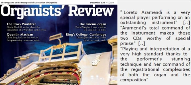 "Excellente critique du double CD par ""Organists' Review"""