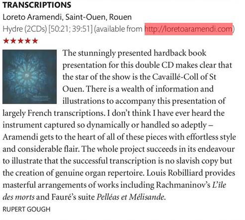 Review - 5 stars - Choir & Organ - Loreto Aramendi - Transcriptions