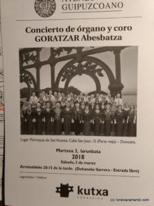 Cartel del concierto al Órgano Cavaillé-Coll - Iglesia San Vicente