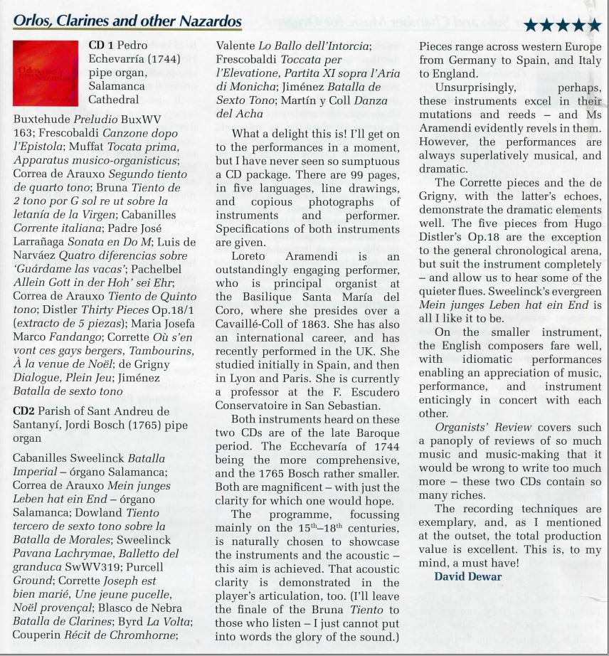 "Review by Choir & Organ - CD ""Orlos, Clarines and other Nazardos"" - Loreto Aramendi"